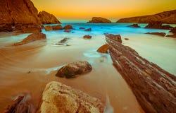 Arnia-Strand, magischer Strand Santander spanien lizenzfreie stockfotografie