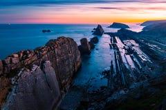 Arniastrand, magisch strand Santander spanje royalty-vrije stock afbeeldingen