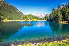Arnisee lake with Swiss Alps. Arnisee is a reservoir in the Canton of Uri, Switzerland.  royalty free stock photo