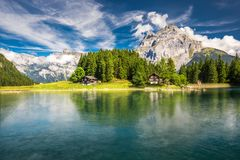 Arnisee with Swiss Alps. Arnisee is a reservoir in the Canton of. Uri, Switzerland, Europe stock photography