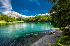 Arnisee with Swiss Alps. Arnisee is a reservoir in the Canton of Uri, Switzerland, Europe.  royalty free stock photos