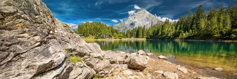 Arnisee with Swiss Alps. Arnisee is a reservoir in the Canton of Uri, Switzerland, Europe.  stock images