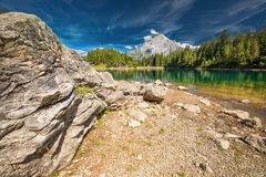 Arnisee with Swiss Alps. Arnisee is a reservoir in the Canton of Uri, Switzerland, Europe.  stock image