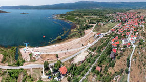 Arnissa city and Lake Vegoritida, aerial view stock photos