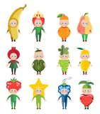 Ð¡arnival costumes of fruits and berries royalty free illustration