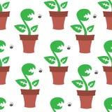 Ð¡arnivorous plant pattern. Vector seamless pattern texture with Сarnivorous plants and flys vector illustration
