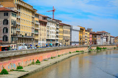 Arno banks seen from Pisa riverfront Stock Image