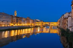 Arno and Ponte Vecchio at night, Florence, Italy royalty free stock photo