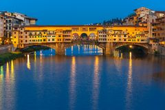 Arno and Ponte Vecchio at night, Florence, Italy Stock Photos