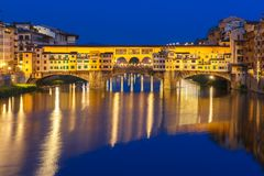 Arno and Ponte Vecchio at night, Florence, Italy Stock Photography
