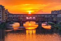 Arno and Ponte Vecchio at sunset, Florence, Italy Royalty Free Stock Photo