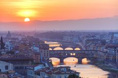 Arno and Ponte Vecchio at sunset, Florence, Italy Stock Image