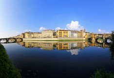 Arno river. Panorama of Florence ant two bridges at Arno river stock image