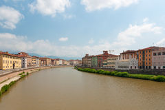 Arno river. Panoramic view at the Arno river in Pisa, Italy royalty free stock photos