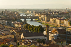 Arno River. And Ponte vecchio in Florence, Tuscany, Italy stock photo