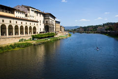 Arno river. The view of Arno from ponte vecchio in Florence, Italy royalty free stock photo