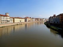 Arno River and Architecture of Pisa, Italy Royalty Free Stock Images