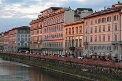 Arno river banks at sunset Royalty Free Stock Photos