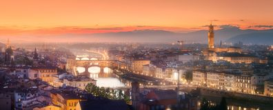 Arno River and Basilica at sunset Florence, Italy Stock Images