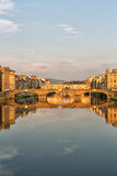Arno River and Bridges Florence. Florence, Italy-June 12, 20015.View of the Arno River and the buildings along it`s banks, looking towards the Ponte Santa Stock Photo
