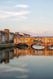 Arno River and Bridges Florence. Florence, Italy-June 12, 20015.View of the Arno River and the buildings along it`s banks, looking towards the Ponte Santa Stock Photography