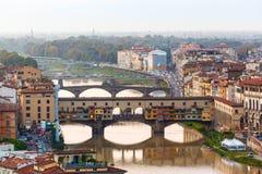 Arno River and bridges Ponte Vecchio Stock Photos