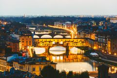 Arno River and bridges Ponte Vecchio Royalty Free Stock Image
