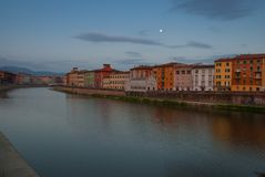 The Arno river in the city of Pisa. So called Lungarno stock photography