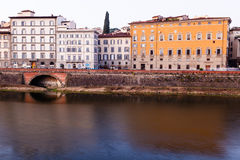 Arno River Embankment in the Early Morning Light Stock Photography