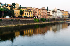 Arno River Embankment in the Early Morning Light Royalty Free Stock Photography
