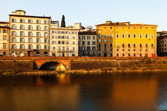 Arno River Embankment after Sunrise in Florence Royalty Free Stock Images