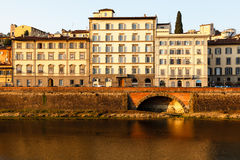 Arno River Embankment after Sunrise in Florence Royalty Free Stock Photos