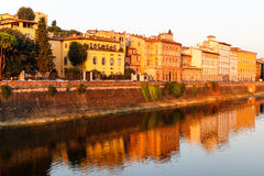 Arno River Embankment after Sunrise in Florence Stock Photography