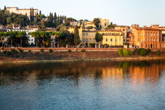 Arno River Embankment after Sunrise in Florence Royalty Free Stock Photo