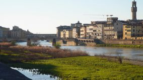 The Arno River in Florence. Evening time stock footage