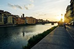 Arno river in Florence at the evening, Italy royalty free stock photos