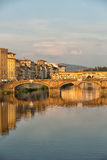 Arno River Florence. Florence, Italy-June 12, 20015.View of the Arno River and the buildings along it`s banks, looking towards the famous Ponte Vecchio bridge in Royalty Free Stock Photography