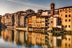 Arno river in Florence. Old buildings on the Arno river in Florence, Tuscany, Italy royalty free stock photo