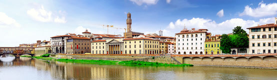 Arno river in Florence,Tuscany, Italy. Panorama Royalty Free Stock Images