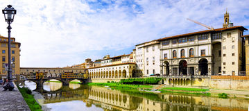 Arno river in Florence,Tuscany, Italy. Panorama Royalty Free Stock Photo