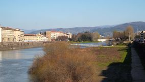 The Arno River in Florence. The Arno is a river in the Tuscany region of Italy. It is the most important river of central Italy after the Tiber stock video