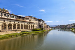 Arno river and Florentine palaces Florence , Italy. Royalty Free Stock Photography
