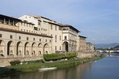 Arno river flowing through Florence next to Uffizi gallery Stock Photos