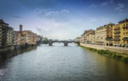 Arno river in Florence. Arno river and one of many bridges in Florence,Tuscany,Italy,makes this place unique and special royalty free stock photo