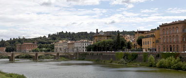Arno River and Ponte delle Grazie Royalty Free Stock Photos