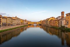 Arno River and Ponte Vecchio in Florence Royalty Free Stock Photography