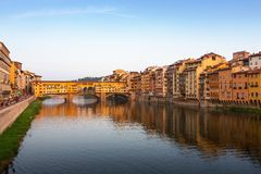 Arno River and Ponte Vecchio in Florence Stock Photo