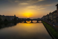 Arno River and Ponte Vecchio in Florence Royalty Free Stock Photo