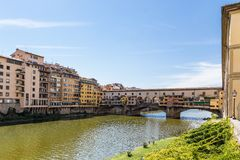 Arno river and Ponte Vecchio in Florence, Italy Stock Images