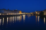 Arno river with Ponte Vecchio in Florence by night Stock Photos